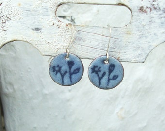Spring Flora.  Artisan Enamel Earrings.