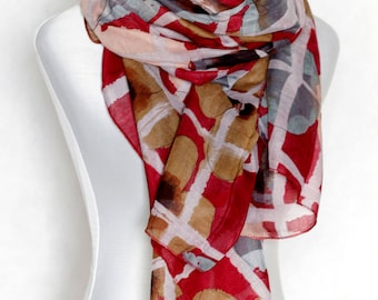 Cherry Red and  Grey Plaid scarf with Large Flowers scarf scarves shawl schal wrap Lightweight fairy fantasy gift Women Fashion  Pareo