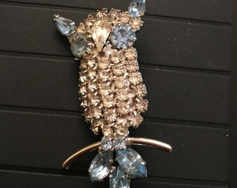 RHINESTONE OWL PIN Blue and clear at Ageless  Alchemy