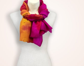 Hot pink ombre painted scarf, pashmina shawl gift for new mom, gift idea for women, colourful christmas gift, bridesmaid gift wool scarf