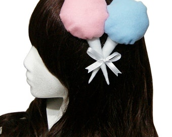 Sweet Strawberry and Raspberry Plush Cotton Candy Gothic and Lolita Hair Clip - Made to Order