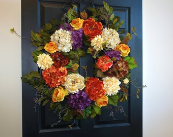 fall wreath 30'' fall wreaths Holiday wreath Thanksgiving wreaths front door wreaths yellow summer wreaths ideas