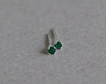 Tiny Emerald Stud Earrings - May Birthstone Green Small Child Earrings