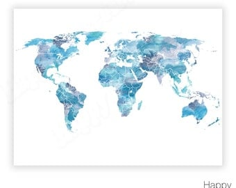 Blue world map printable watercolour world map print navy shades of blue world map watercolor world map world map poster blue sciox Image collections