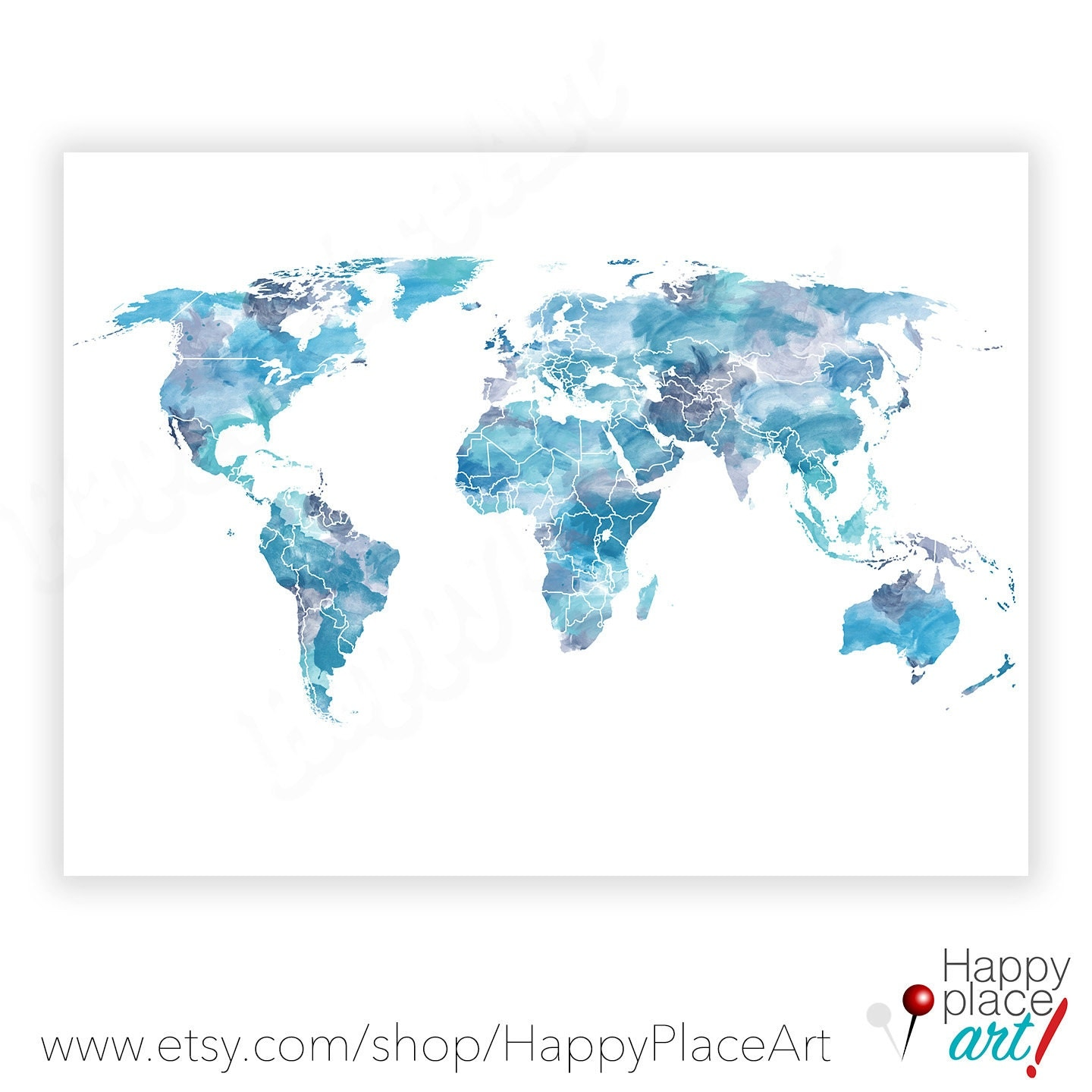 Shades of Blue World Map Watercolor world map World map