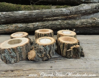 Grab Bag of 20 Tree Branch Candle Holders, Rustic Wedding Candle Holders, Rustic Wedding Centerpieces, Wood Candle Centerpieces