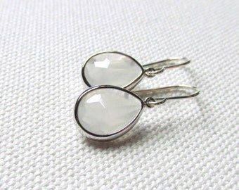 White Dangle Earrings Sterling Silver Wires Cloudy White Minimal Earrings Gift For Her