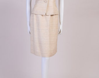 Vintage Linen Suit from the 1960s Matching Skirt & Jacket