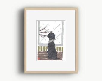 Black Poodle, Poodle Art, Poodle Decor, Poodle Illustration, Poodle Gifts
