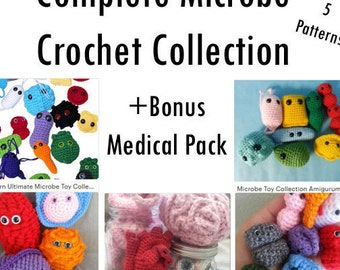 Complete Microbe Crochet Collection + Bonus Medical Pack 5 Patterns