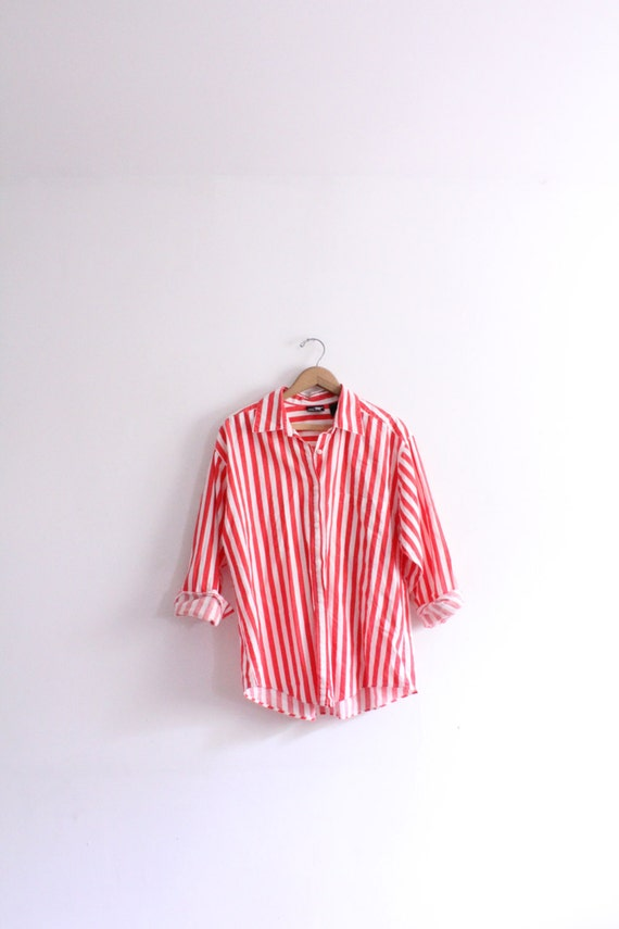 Red striped baggy button down shirt for Red and white striped button down shirt