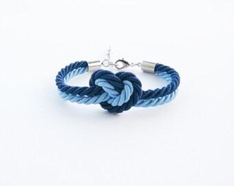 Blue wedding - blue bracelet - heart bracelet - bridesmaid gift - bridesmaid bracelet - bridal shower - flower girl gift - bridal party