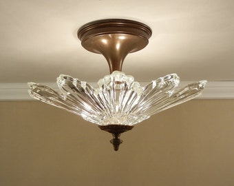 "Vintage SUNBURST Starburst Ceiling Light - Antique 1930's Ultra Art Deco Glass & Solid Brass Fixture - Large 16"" Rewired"