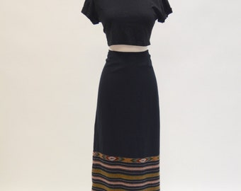 Adorable Vintage Kilim Aztec Print Maxi Skirt with Fringe, Super 90s Boho, Hippie, Hipster, Size Large/Extra Large