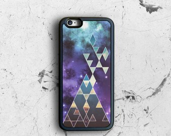 iPhone 6 Case Cosmic, Geometric iPhone 6s Case Hipster, Space Triangles iPhone 6 Plus Case, iPhone 6 Cover, Black Rubber iPhone 6 Case