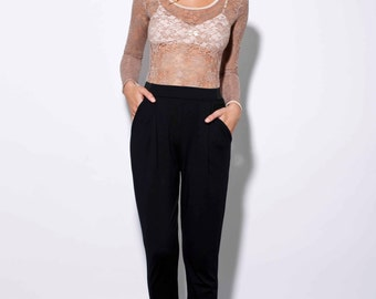 womens lounge pants - black pants - womens pants - loungewear - loose pants - jersey pants women - womens trousers