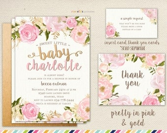 Girl Baby Shower Invitation - Flowers and Pink Summer Spring, Rose baby shower