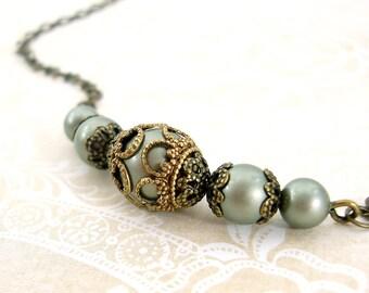 Sage Green Victorian Necklace - Antique Brass Antique Style Bronze Filigree - Swarovski Pearl Sage Pearl Necklace - Sage Victorian Jewelry