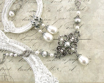 White Victorian Jewelry - Swarovski Crystal Pearl Necklace - Antique Silver Floral Filigree White Pearl Victorian Wedding Jewelry