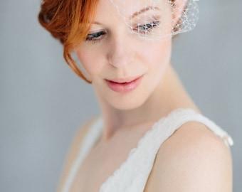 "Birdcage Wedding French Netting Headpiece - ""Josefine"""