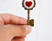 Heart key Alice in Wonderland pendant, love charm for unconventional engagement, my heart is your badge, romantic woman steampunk detail