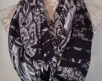 Chiffon Black and White Infinity Scarf, Women scarves, loop scarf, eternity scarf, accessories, circle scarf, gift for her