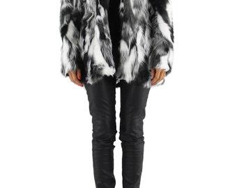 Short Coat in Tricolor Faux Fur.