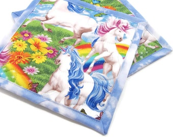 Colorful Potholders, Unicorns and Rainbows Pot Holders, Cotton Fabric Hot Pads - Housewarming Gift, Hostess Gift