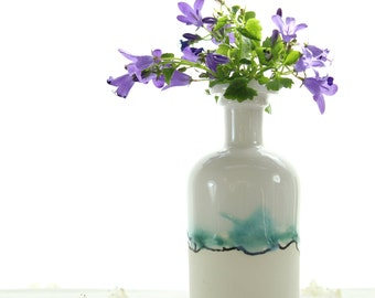 Chemistry gift ceramic bud vase with landscape painting in glazes. Bud vase or ceramic vase with watercolour painting. White home decor.