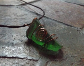 Green Sea Glass Copper Wire Wapped Leather Necklace