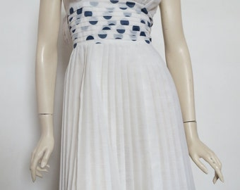 Cute 60's Vintage Polka Dot Pleated Dress / Retro Print / Small Medium / Novelty