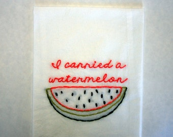 Made to Order - Dirty Dancing Tea Towel  - I carried a watermelon - No one puts baby in the corner