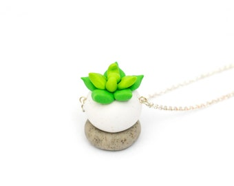 Handmade Cactus Polymer Clay Jewelry Necklace: Succulent in Leafy Green