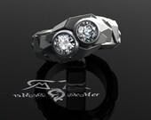 Two stone 1 cttw colorless VS diamond modern contemporary engagement ring. 18k Organic chiseled crystal habit mens & womens. Diamond Pair.