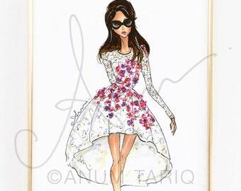 "Fashion Illustration Print, Giambattista Valli, 8x10"""