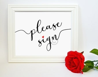 Wedding Guestbook Sign - Please Sign Guestbook Table Sign - Wedding Table Signs -  Wedding Printables - DIY Wedding Signs