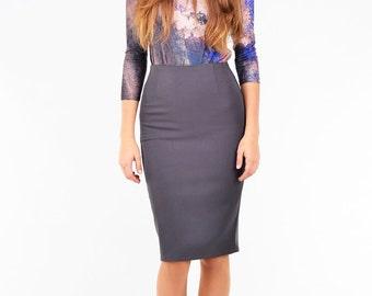 Grey Skirt, Work Skirt, Pencil Skirt, Office Skirt, High Waisted Skirt, Knee Length Skirt, Fitted Skirt, Business Skirt, Adult Skirt