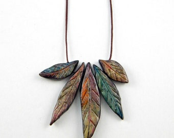Boho feather necklace, christmas gift, adjustable cord pendant, polymer clay leaves, polymer clay feathers, rustic leaves, organic leaf