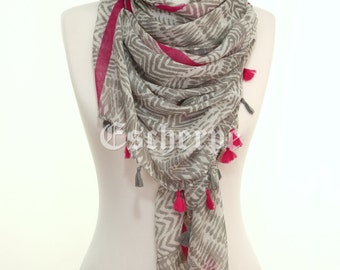 Grey Magenta Tribal Print Tassel Scarf Woman Spring Summer Accessory Women Fashion Girlfriends Mother's Day Gift Ideas For Her Mom