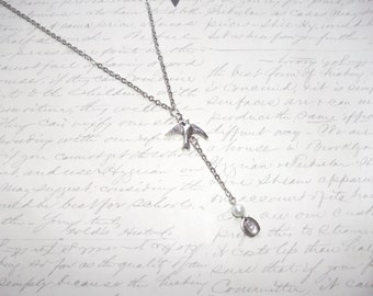 Bird charm y shape necklace with initial charm