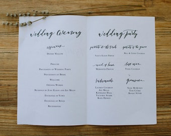 Calligraphy Wedding Program Design - Custom Digital Download