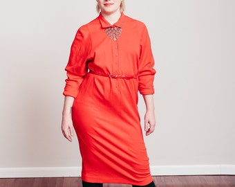 1980s Bright Red Cotton Henley Dress - Medium/Large - Vintage - Hipster - Midi Dress - Dolman Sleeve -
