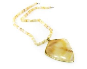 Vintage Banded Agate Necklace, Butterscotch, Beads, Arrow Head Peandant, Mexico