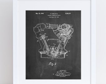 Internal Combustion Engine Poster, Car Part Art, Tank Engine, Henry Ford, PP0844