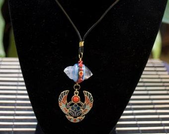 Scarab Beetle Crystal Pendant