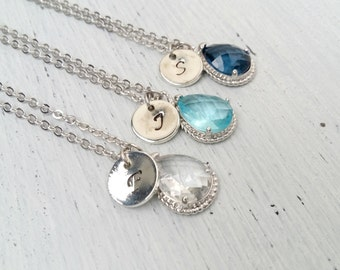 Personalized Bridesmaid Necklace blue crystal, Bridesmaid gift, Personalized Necklace, Initial Necklace, Bridesmaids Initial Necklaces
