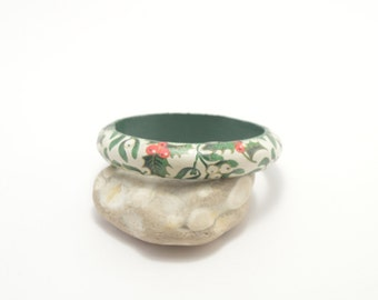 Wooden decoupage bracelet, wooden bracelet, decoupage bracelet, bangle, wooden bangle, decoupage bangle, flower, floral, mistletoe