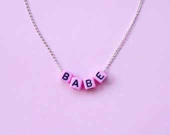 Babe Necklace, Letter Necklace