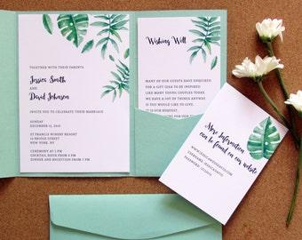 green tropical pocket wedding invitation mint green wedding invite