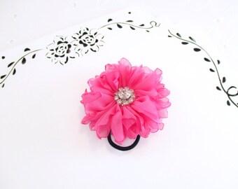 Pink Flower Hair Tie, Chiffon Flower Hair Tie, Chiffon Hair Clip, Pink Ponytail Holder, Pink Hair Tie, Pink Wedding Hair Tie, Pink Chiffon